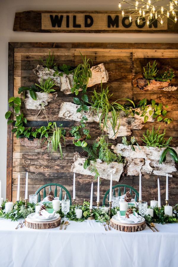 Rustic winter wedding table decor in Hartford, CT