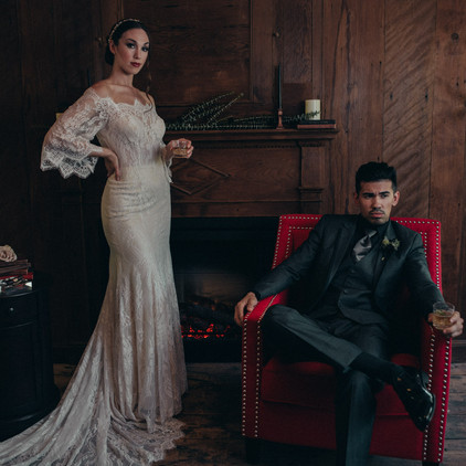 Moody Wedding Styled Shoot at Mine Hill Distillery