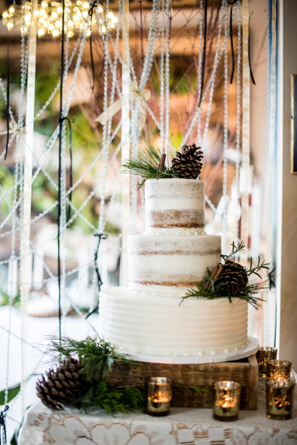 3 tier naked wedding cake, rustic wedding cake