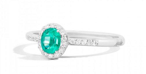 RECARLO Anello IRIS oro bianco, Diamanti e Smeraldo R33CG251/SM