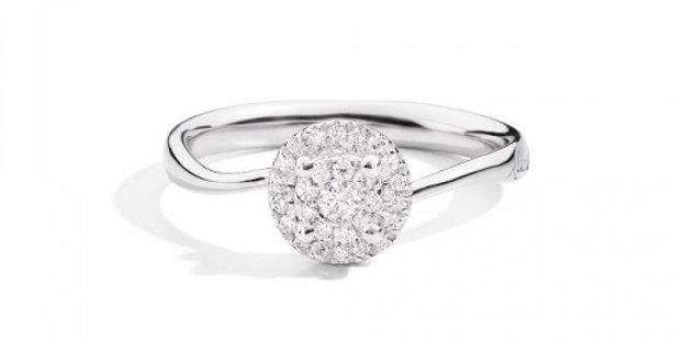 RECARLO Anello Bisanzio, oro bianco 18 kt e diamanti xe227/b