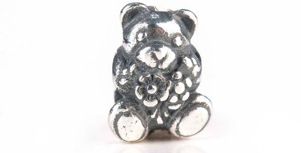 Bead in argento Teddy con fiori THUN by Trollbeads® - Abbracciami!