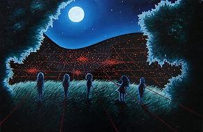 huile sur toile, peinture, rêve, enfants, colline, Spilberg, extra terrestres, rayon laser, los angeles, nuit, lune