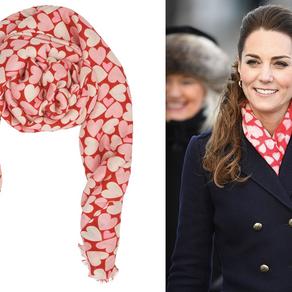 HRH The Duchess of Cambridge wears Beulah heart scarf