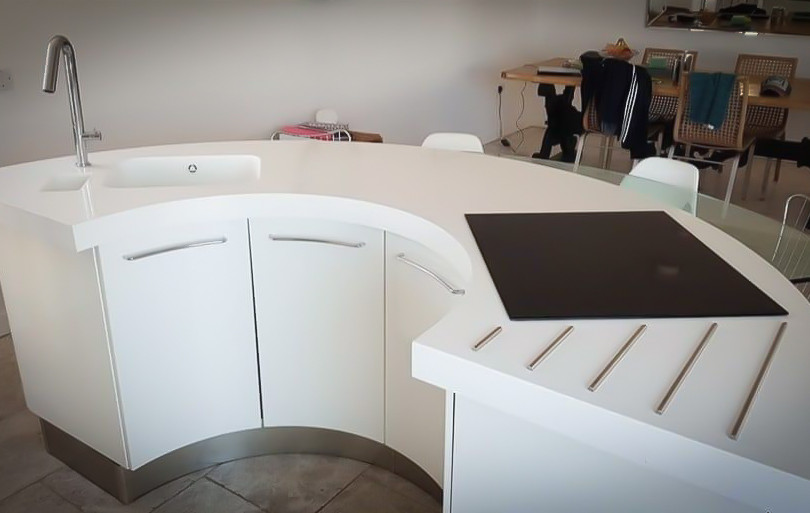 Circular Kitchen Island Solid Surface Worktop