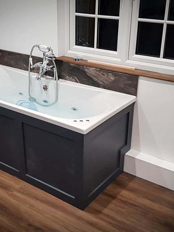 Bespoke Handmade Bath Surround with solid surface bathtub