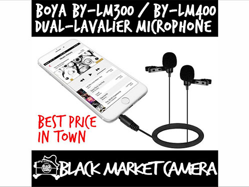 BOYA BY-LM300/BY-LM400 Dual-Lavalier Microphone for DSLR,Camcorders,Smartphones