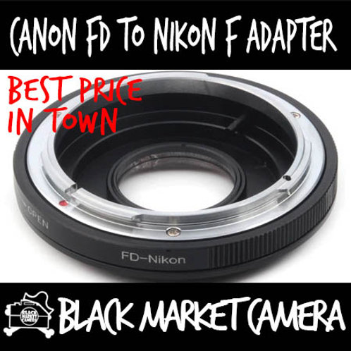 Canon FD Lens to Nikon F Body Adapter w/ Glass (Infinity Focus)