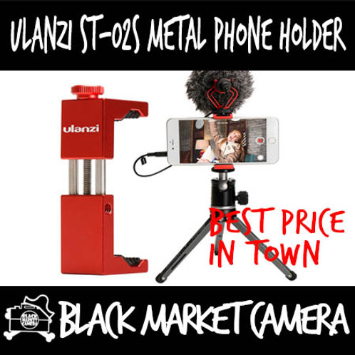 Ulanzi ST-02S Metal Phone Holder w Cold Shoe (Red/Silver/Black)