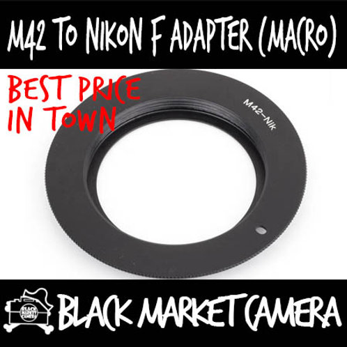 M42 Screwmount Lens to Nikon F Body Adapter (MACRO Only)
