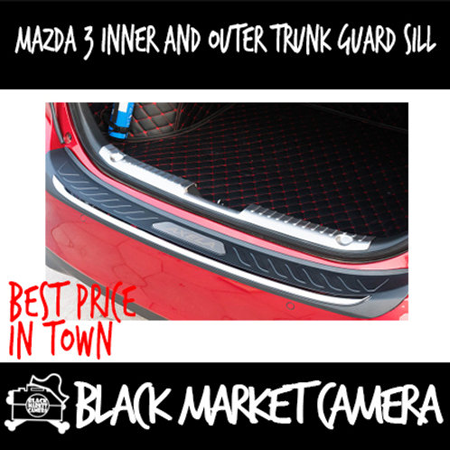 Mazda 3 Inner and Outer Trunk Guard Sill (Black w Silver Rim)