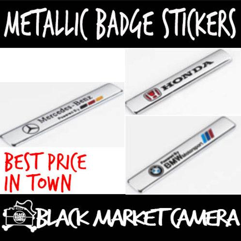 Car Metallic Badge Stickers (9.5cm x 1.5cm)
