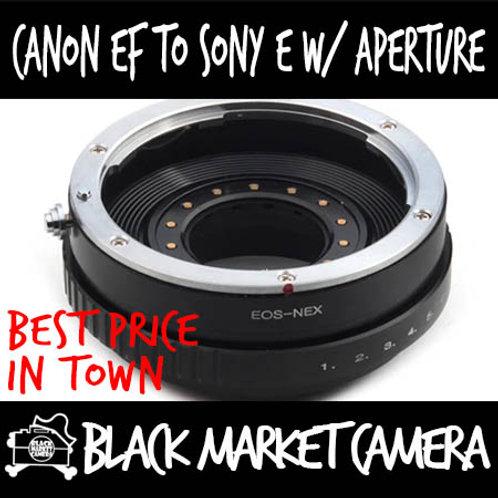 Canon EF Lens to Sony E (NEX) Body Adapter (Builtin Aperture)