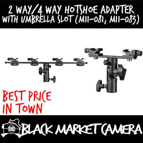 2 Way/4 Way Hotshoe Adapter with Umbrella Slot (M11-081, M11-083)