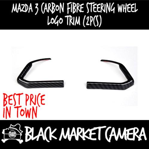 Mazda 3 Carbon Fibre Steering Wheel Logo Trim (2pcs)