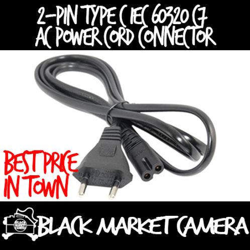 1m 2 Pin Type C IEC 60320 C7 AC Power Cord