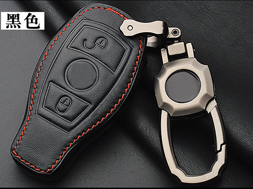 Mercedes Benz Key leather pouch metal hook- 2 button full cover
