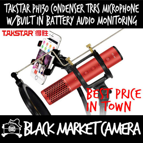 Takstar PH130 Condenser TRRS Microphone Built in Battery Audio Monitoring