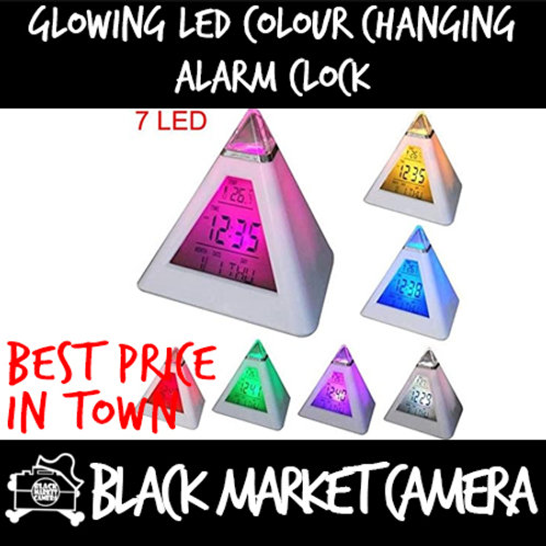 7 LED Digital Alarm Clock Color Changing Pyramid