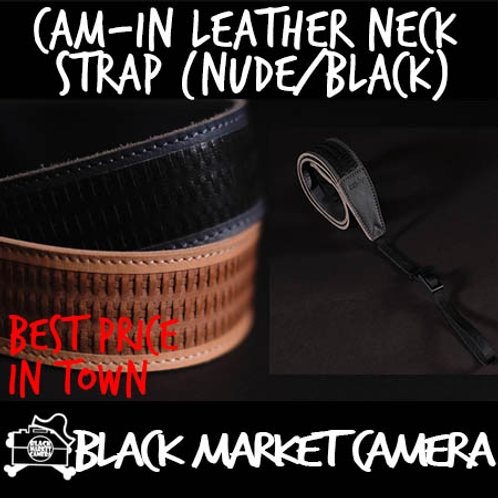Cam-in Leather Neck Strap (Nude/Black)
