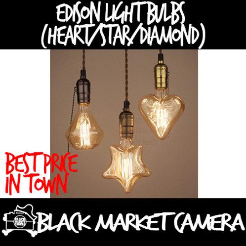 Edison Light Bulbs E27 (Heart/Star/Diamond Shape)
