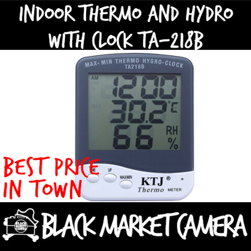 Indoor Thermo and Hygro with clock TA218B