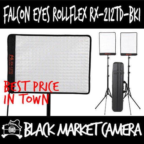 Falcon Eyes RX-212TD-BK1 Bi-Colour Roll-Flex LED Dual Light Kit with Lightstand