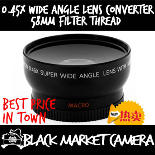 0.45x Wide Angle Lens Converter 58mm Filter Thread