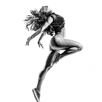 beautiful dancer jumping on a white isol