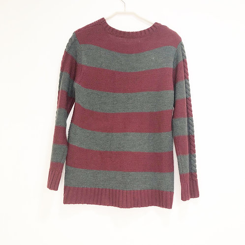 Crew Neck Men's Stripe Sweater Size M/L