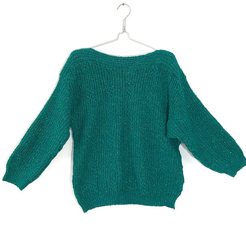 Vintage Women's Sweater Sparkly Green Size M/L # 198