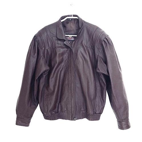 Italian Bomber Leather Jacket Size S