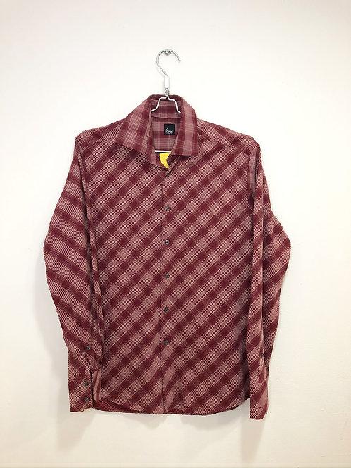 Men's L/S Shirt checked Bordo/White
