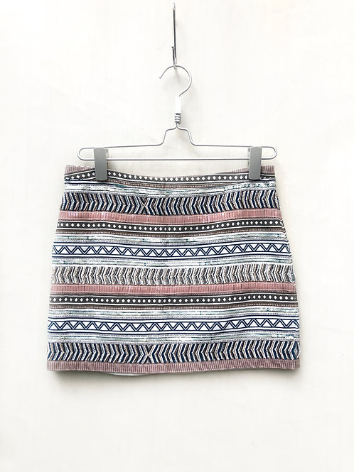 Mango Lined Greek Style Sequence Skirt Size 38