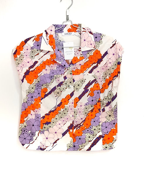 Carven Woman's White Floral Short Sleeve Shirt Size 38 #125