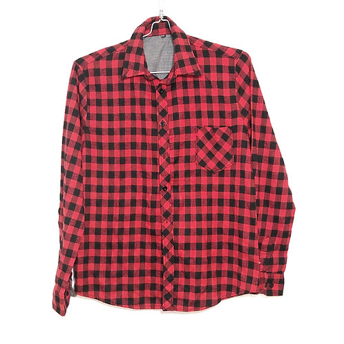 Red and Black Long Sleeve Check Flannel Shirt Size M/L