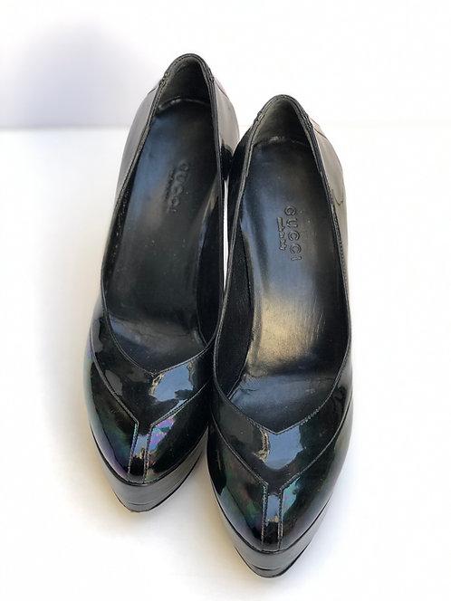 High Heel Black Metallic Shoes Size