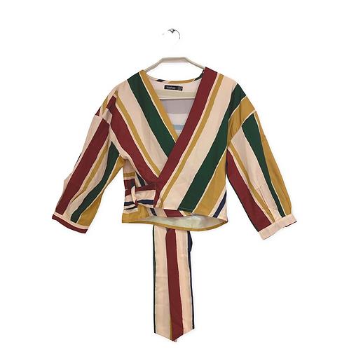 Boohoo Wrap Stripe Gypsy Style Size 38