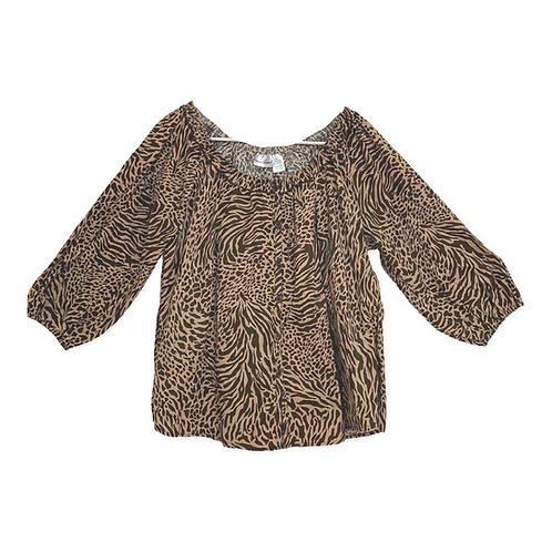 Harve Bernard Leopard Skin Gypsy Style Shirt Size L