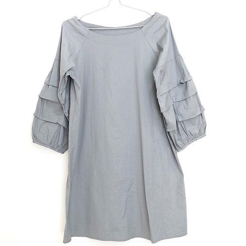 Puff sleeve grey dress
