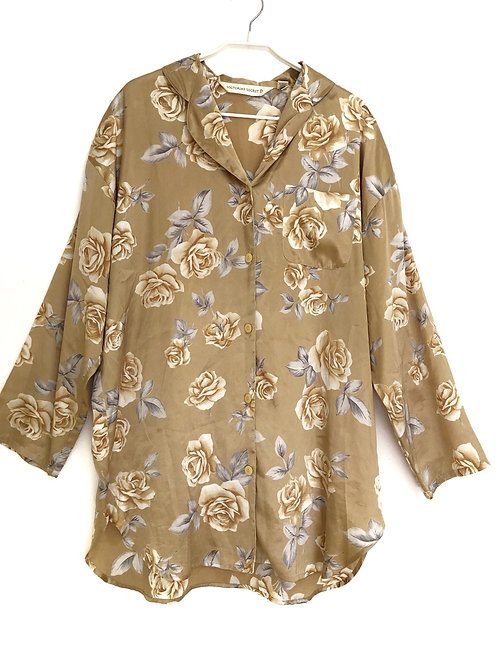 Victoria Secret Long Sleeve Floral Night Shirt Size M