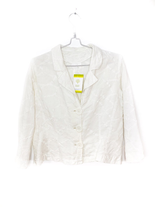 Vintage White Long Sleeve  Embroidered Jacket