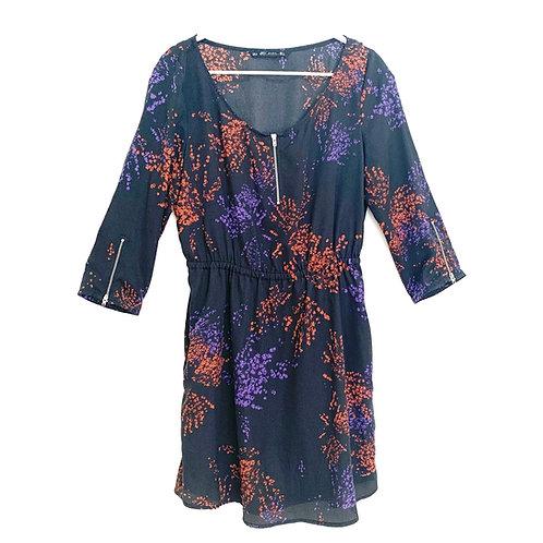 Zara Blouson Abstract Dress with 2 Pockets Size L