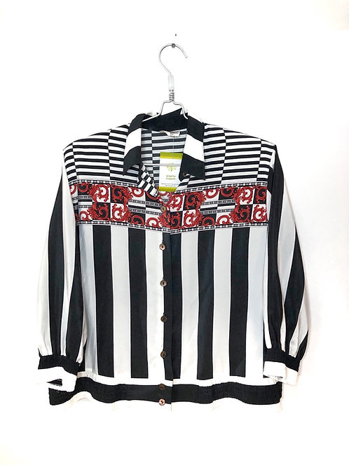 3/4 Sleeve Woman's Black & White Stripe Top