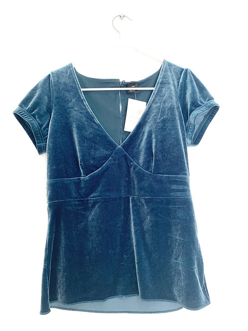 Esprit  Short Sleeve Velour V-Neck Blue Teal Size M