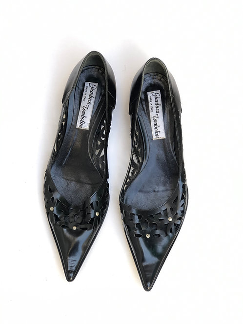 Flat Pointed Black Leather Shoes