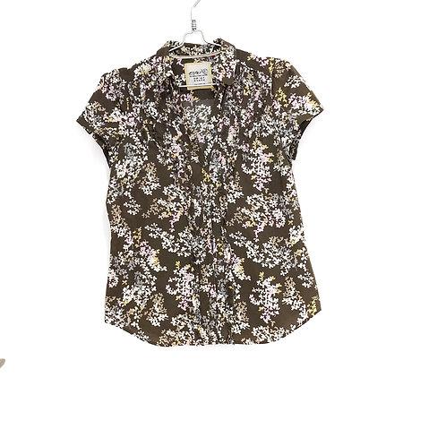 Esprit Ruffle Front Woman's Short Sleeve Shirt  Size 40 #129