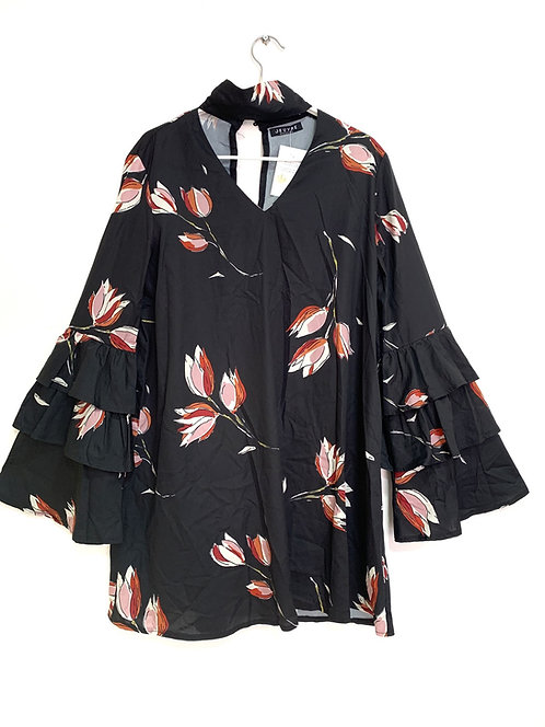 Jeuvre Black Floral Dress with Puff Sleeve Size 38