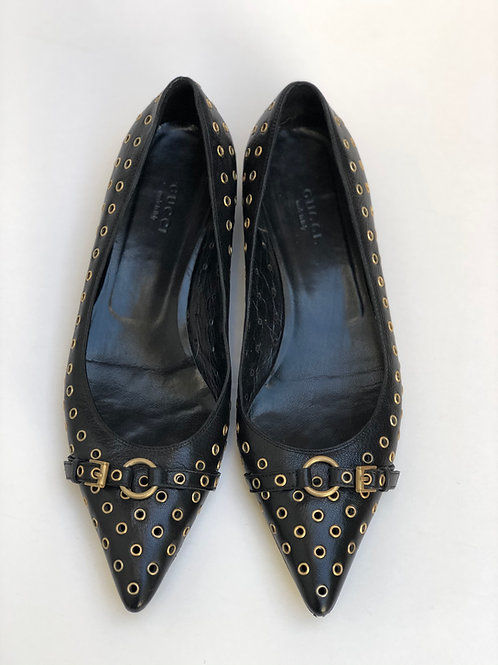 Studded Flat Black Shoes