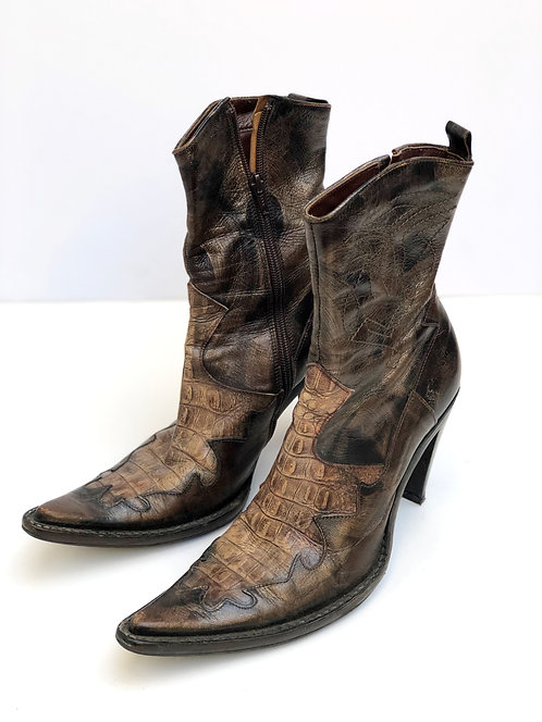 High Heel Leather Cowboy Boots Brown/Bronze Color